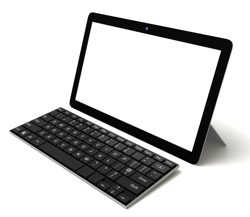 Tablet with keyboard accessory