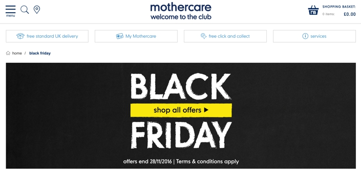 Mothercares 2016 Black Friday Offers